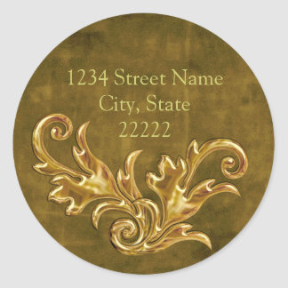 Gold Flourishes Return Address Envelope Seal Round Sticker