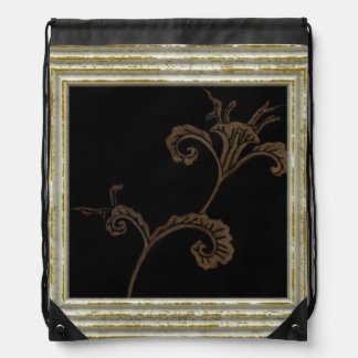 Gold Flower On Black Drawstring Bag