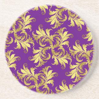 Gold flower ornament coaster