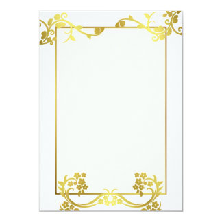 Gold flower ornament 5x7 paper invitation card