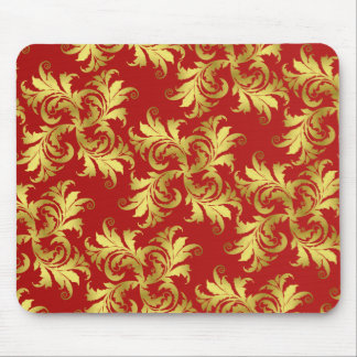 Gold flower ornament mouse pad
