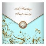 Gold Flower Pearl Teal 50th Wedding Anniversary Invitation