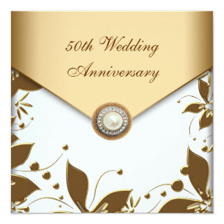 Gold Flower Pearl White 50th Wedding Anniversary 13 Cm X 13 Cm Square Invitation Card