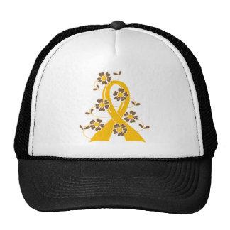 Gold Flower Ribbon 2.1 Childhood Cancer Cap
