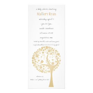 Gold Flowering Tree Baby Shower Invitation