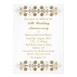 Gold Flowers 50th Wedding Anniversary Invitations