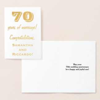 Gold Foil 70th Wedding Anniversary + Custom Names Foil Card