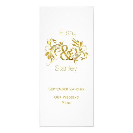 Gold foil ampersand and scroll wedding menu card