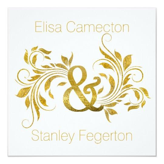 Gold foil ampersand flourish ornate floral wedding card