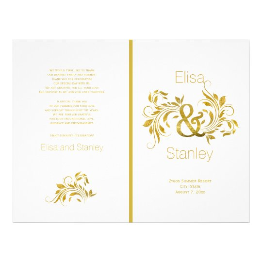 Gold foil ampersand scroll leaf wedding program flyer