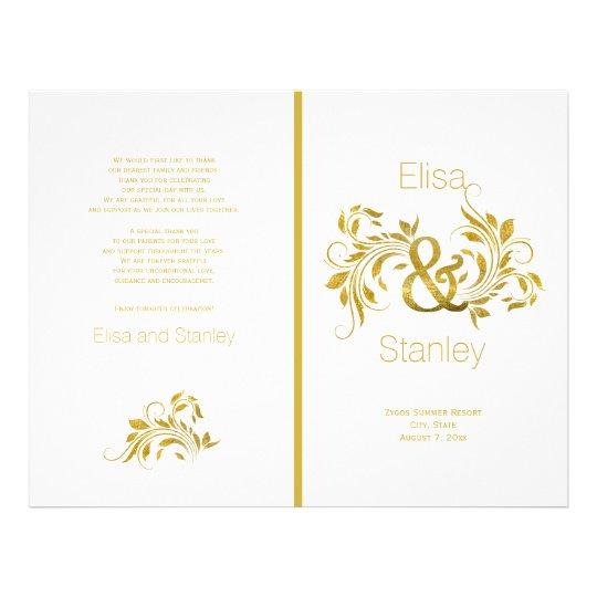 Gold foil ampersand scroll leaf wedding program flyer