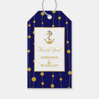 Gold foil anchor and beads modern navy nautical