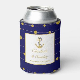 Gold foil anchor modern navy blue nautical wedding can cooler