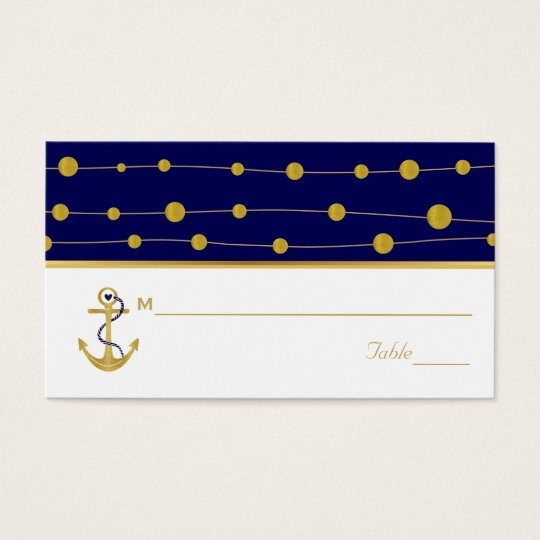 Gold foil anchor nautical navy wedding place card