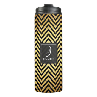 Gold Foil and Black Chevron Pattern Monogram Thermal Tumbler
