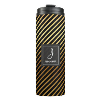 Gold Foil and Black Striped Pattern Monogram Thermal Tumbler
