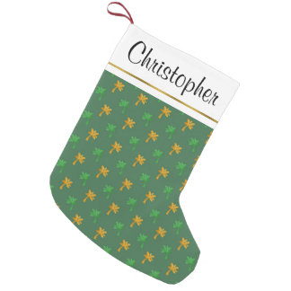Gold Foil and Green Hawaiian Tropical Palm Trees Small Christmas Stocking