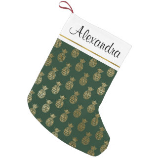 Gold Foil and Green Hawaiian Tropical Pineapples Small Christmas Stocking