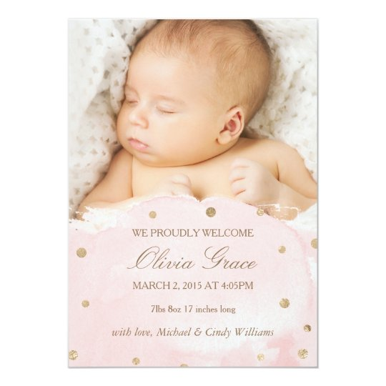 Gold Foil and Pink Watercolor Birth Announcements