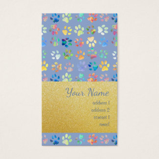gold foil and serenity blue paw prints pattern business card