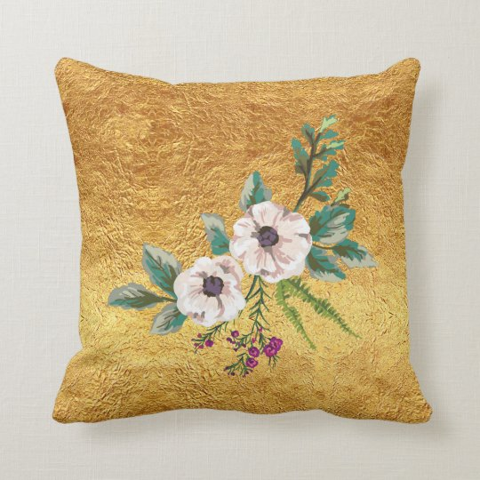 Gold Foil and Watercolor Flowers Cushion