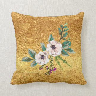 Gold Foil and Watercolor Flowers Throw Pillow
