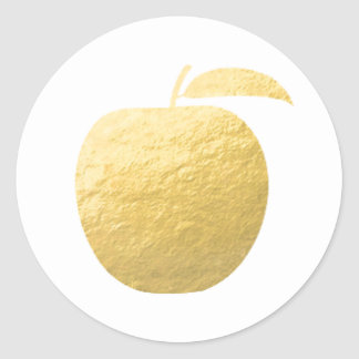 Gold Foil Apple Classic Round Sticker