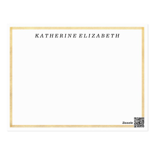 Gold Foil Art Deco Border Personalised Note Card