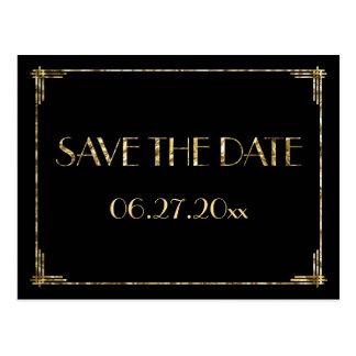 Gold Foil Art Deco Save The Date Postcards Black