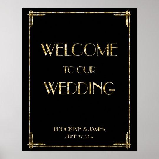 Gold Foil Art Deco Wedding Reception Sign 16x20