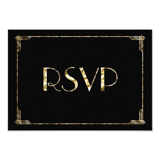 Gold Foil Art Deco Wedding RSVP Cards Black