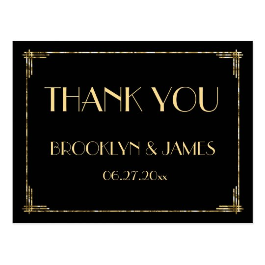 Gold Foil Art Deco Wedding Thank You Black
