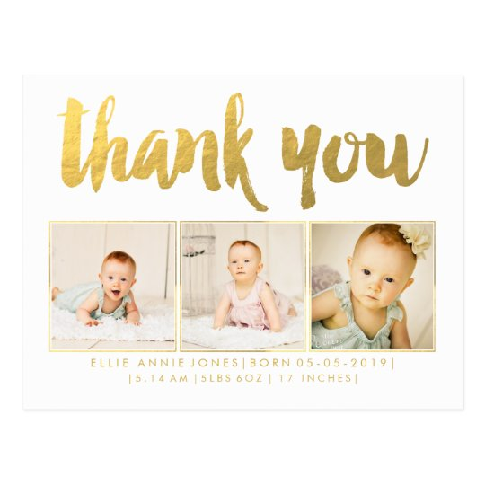Gold Foil Baby Thank You Photo Frame Postcard