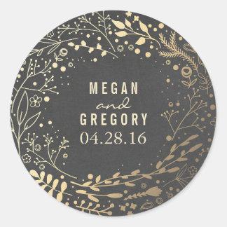 Gold Foil Baby's Breath Floral Bopuquet Chalkboard Round Sticker