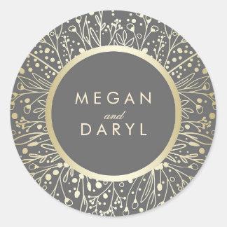 Gold Foil Baby's Breath Floral Frame Wedding Round Sticker