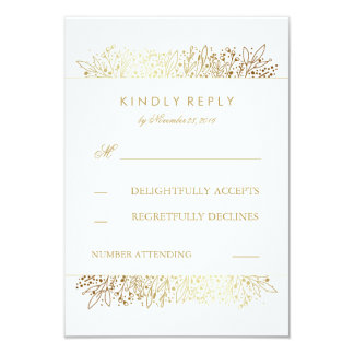 Gold Foil Baby's Breath Floral Wedding RSVP Cards