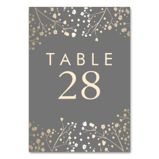 Gold Foil Baby's Breath Grey Wedding Table Number