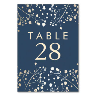 Gold Foil Baby's Breath Navy Wedding Table Numbers Table Card