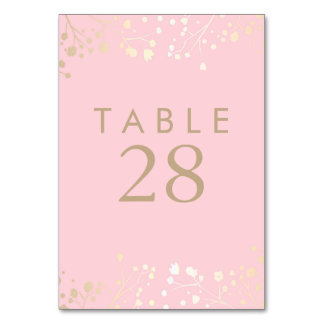 Gold Foil Baby's Breath Pink Wedding Table Numbers Table Cards