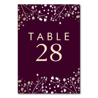 Gold Foil Baby's Breath Plum Wedding Table Numbers