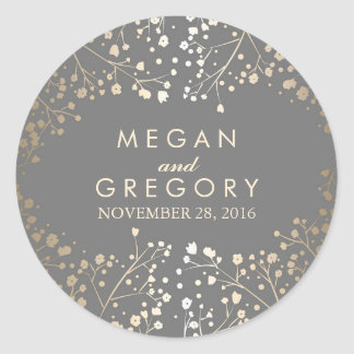 Gold Foil Baby's Breath Wedding Round Sticker