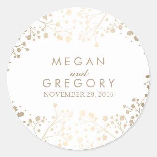 Gold Foil Baby's Breath White Wedding Classic Round Sticker