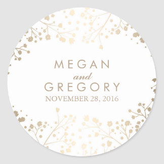 Gold Foil Baby's Breath White Wedding Round Sticker