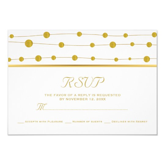 Gold foil beads and stripe modern wedding RSVP