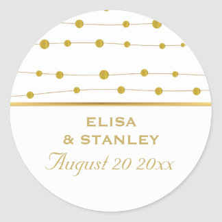 Gold foil beads modern wedding Save the Date Round Sticker