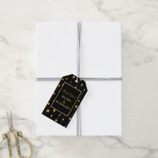 Gold foil beads patten modern black wedding gift tags