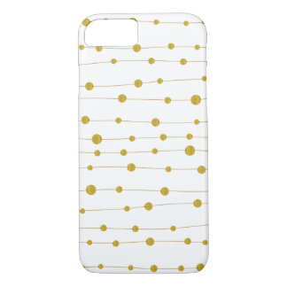Gold foil beads pattern trendy and elegant white iPhone 7 case