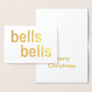 Gold Foil Bells Merry Christmas White Gold-Tone Foil Card