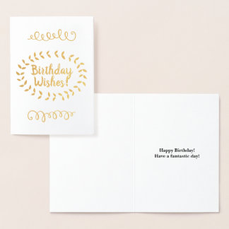 "Gold Foil ""Birthday Wishes!"" Card"