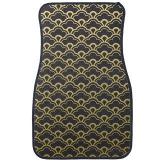 Gold Foil Black Scalloped Shells Pattern Car Mat